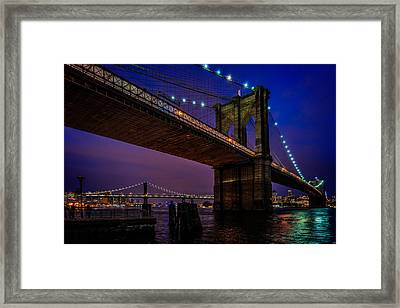 Twilight At The Brooklyn Bridge Framed Print