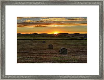 Twilight Bales Framed Print by Mark Kiver