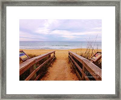 Twilight Beach Walk Framed Print