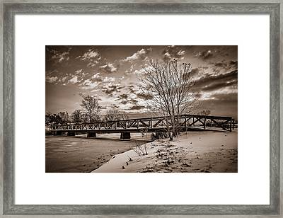 Twilight Bridge Over An Icy Pond - Bw Framed Print
