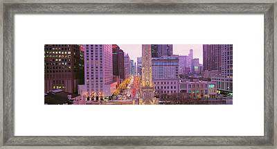 Twilight, Downtown, City Scene, Loop Framed Print