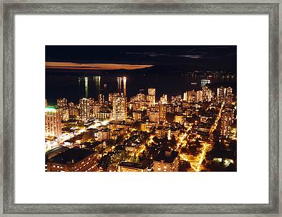 Framed Print featuring the photograph Twilight English Bay Vancouver Mdlxvii by Amyn Nasser