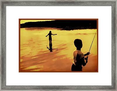 Twilight Fishing Framed Print by John Hansen