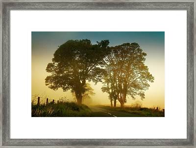 Twilight Guardians. Misty Roads Of Scotland Framed Print by Jenny Rainbow