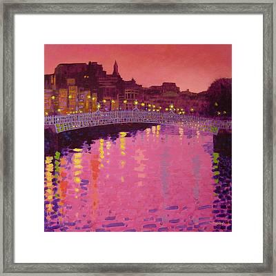 Twilight - Ha' Penny Bridge Dublin Framed Print by John  Nolan