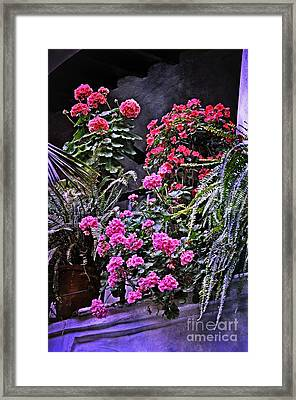 Twilight In The Courtyard Framed Print by Mary Machare