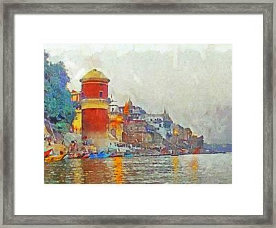 Twilight In Varanasi Framed Print