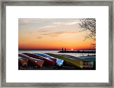 Twilight Kayaks Framed Print by Barbara McMahon