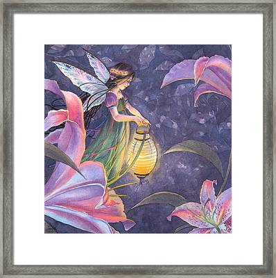 Twilight Lilies Framed Print by Sara Burrier