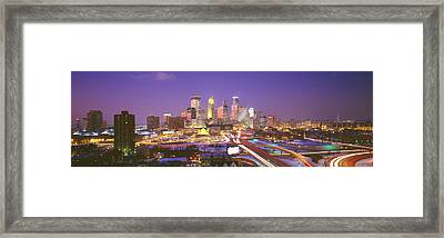 Twilight, Minneapolis, Mn, Usa Framed Print by Panoramic Images