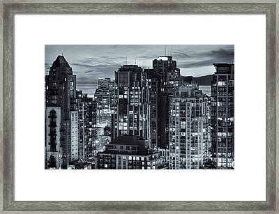 Framed Print featuring the photograph Twilight On Cityscape Of Vancouver Overlooking English Bay - Greeting Card by Amyn Nasser