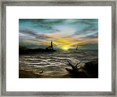 Twilight On The Sea Framed Print