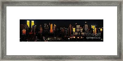Framed Print featuring the photograph Twilight Reflections On New York City by Lilliana Mendez