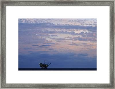 Twilight Sky And Oil Rig Framed Print by Bradford Martin
