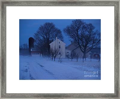 Twilight Snow On Bauman Road Framed Print by Anna Lisa Yoder