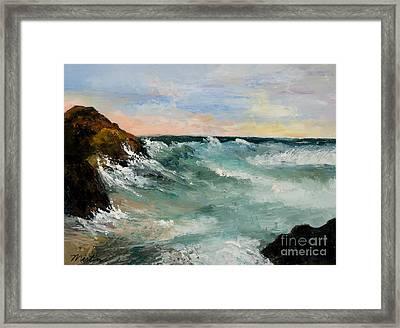 Twilight Surf Framed Print by Larry Martin