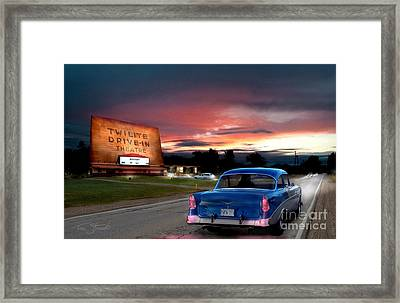 Twilite Drive In  Framed Print by Tom Straub