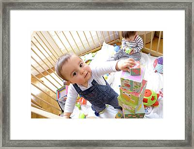 Twin Baby Boys Playing Framed Print by Aj Photo