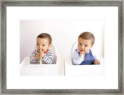 Twin Baby Boys Playing With Spoons Framed Print by Aj Photo