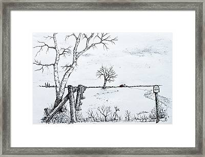 Twin Birch Fence Line Framed Print