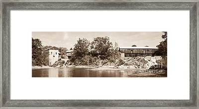 Twin Bridges North Hartland Vermont Sepia Framed Print