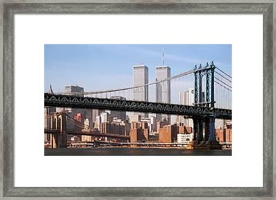 Twin Bridges Twin Towers - New York Framed Print