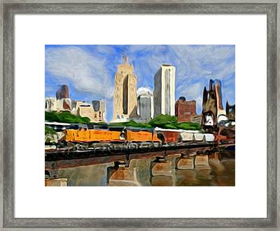 Twin Cities Train Framed Print