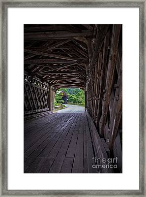 Twin Covered Bridges North Hartland Vermont Framed Print by Edward Fielding