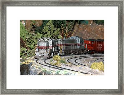 Twin Diesel Work Trains Framed Print by Hugh McClean