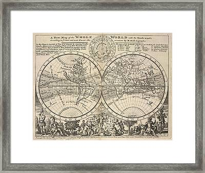 Twin-hemisphere World Map Framed Print by British Library