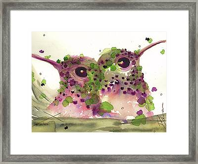 Twin Hummers Framed Print by Dawn Derman