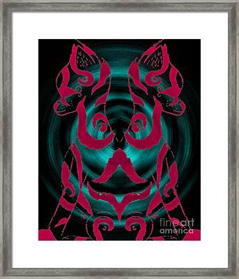 Twin Kitten Pink-blue Framed Print by Josephine Ring