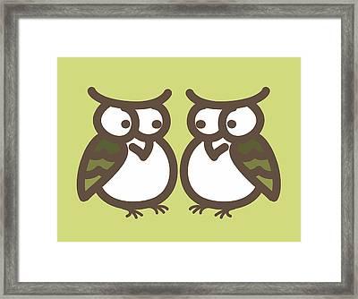 Twin Owl Babies- Nursery Wall Art Framed Print by Nursery Art