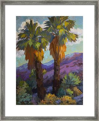 Twin Palms At Indian Canyons Framed Print by Diane McClary