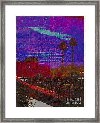 Twin Palms Purple Haze Framed Print by J Burns