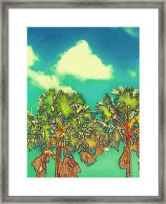 Twin Palms With Aqua Sky - Vertical Framed Print