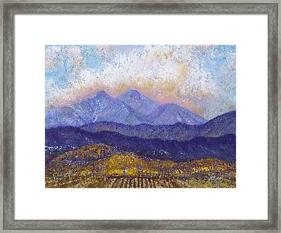 Framed Print featuring the painting Twin Peaks Above The Fruited Plain by Margaret Bobb