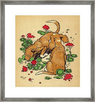 Twin Puppies, Snip And Snap,  Bury Framed Print