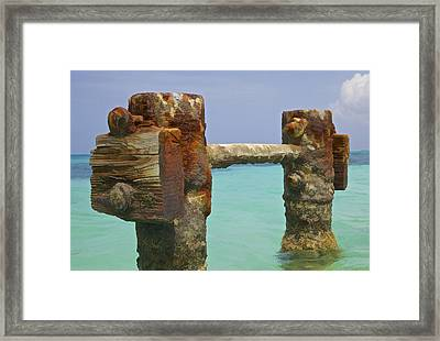 Twin Rusted Dock Piers Of The Caribbean Framed Print