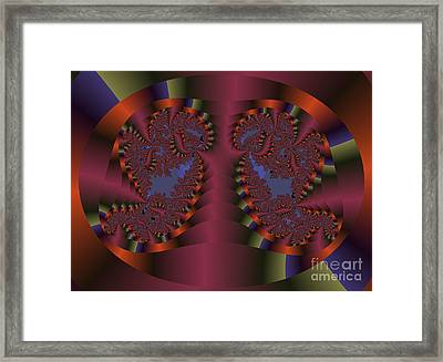 Twin Swans Fractal Abstract Framed Print by Darleen Stry