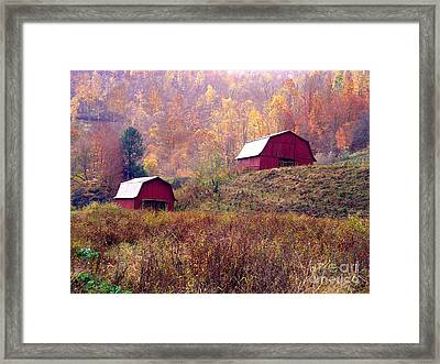 Twin Tobacco Barns Framed Print