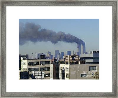 Framed Print featuring the digital art Twin Towers Burning by Steven Spak