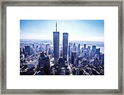 Twin Towers Year 2000 Framed Print by Kim Lessel