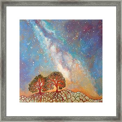 Twin Trees And The Milky Way Framed Print by Cedar Lee