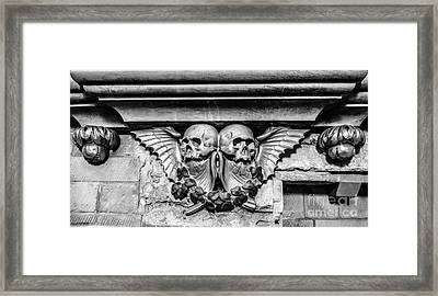 Twin Winged Skull With Laurel Detail - Southwark Cathedral - London - England - Black And White Framed Print