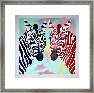 Framed Print featuring the painting Twin Zs by Phyllis Kaltenbach