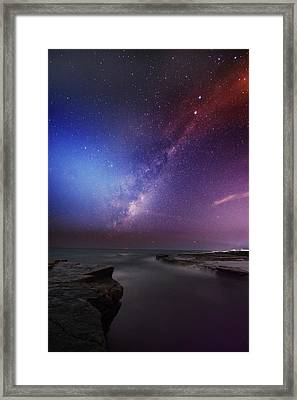 Twins Color Milky Way Framed Print by Alex Teng