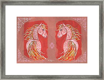 Twins In Red Framed Print
