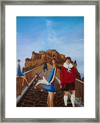Twins On Bridge Framed Print by William Cain