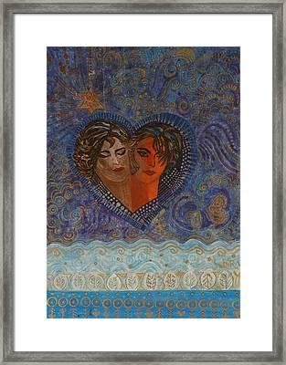 Twinsouls, 2007 Mixed Media Framed Print by Sabira Manek